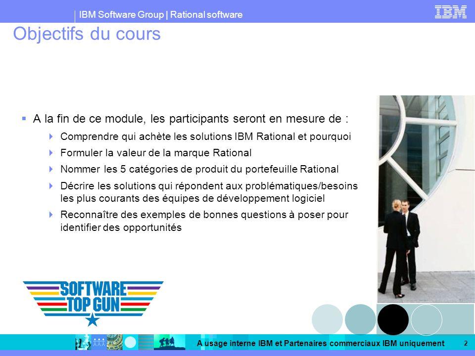 IBM Software Group | Rational software A usage interne IBM et Partenaires commerciaux IBM uniquement 2 Objectifs du cours A la fin de ce module, les p