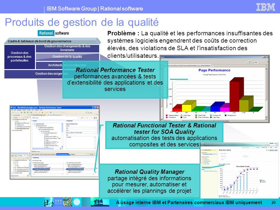 IBM Software Group | Rational software A usage interne IBM et Partenaires commerciaux IBM uniquement 20 Produits de gestion de la qualité Problème : La qualité et les performances insuffisantes des systèmes logiciels engendrent des coûts de correction élevés, des violations de SLA et l insatisfaction des clients/utilisateurs.