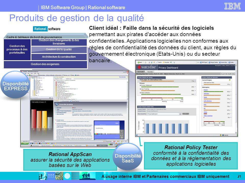 IBM Software Group | Rational software A usage interne IBM et Partenaires commerciaux IBM uniquement 21 Produits de gestion de la qualité Client idéal : Faille dans la sécurité des logiciels permettant aux pirates d accéder aux données confidentielles.