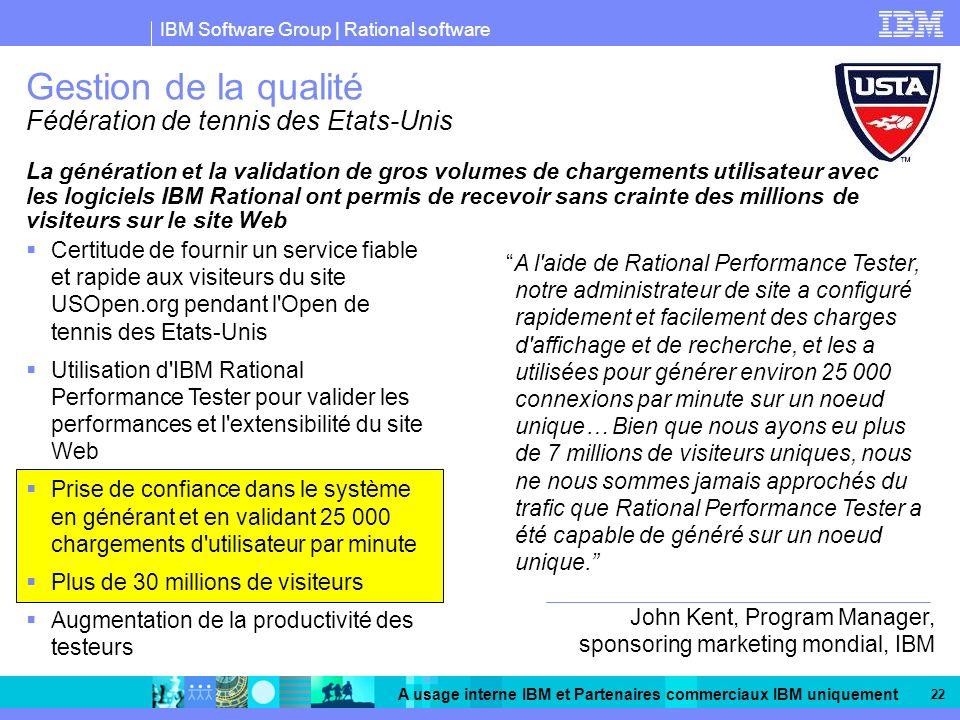 IBM Software Group | Rational software A usage interne IBM et Partenaires commerciaux IBM uniquement 22 Gestion de la qualité Fédération de tennis des