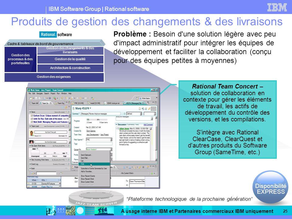 IBM Software Group | Rational software A usage interne IBM et Partenaires commerciaux IBM uniquement 25 Produits de gestion des changements & des livraisons Rational Team Concert – solution de collaboration en contexte pour gérer les éléments de travail, les actifs de développement du contrôle des versions, et les compilations.