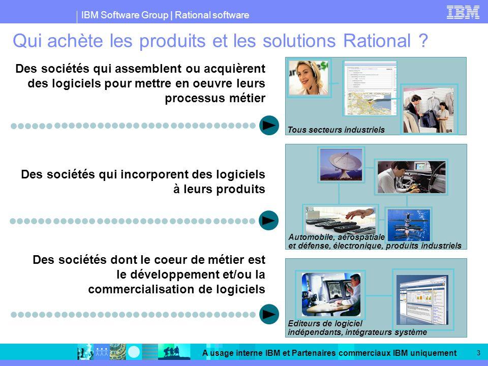 IBM Software Group | Rational software A usage interne IBM et Partenaires commerciaux IBM uniquement 3 Qui achète les produits et les solutions Ration