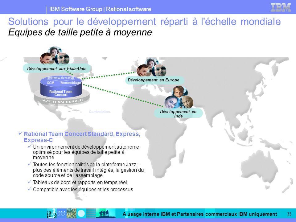 IBM Software Group | Rational software A usage interne IBM et Partenaires commerciaux IBM uniquement 33 Solutions pour le développement réparti à l'éc