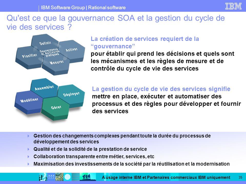 IBM Software Group | Rational software A usage interne IBM et Partenaires commerciaux IBM uniquement 35 Qu est ce que la gouvernance SOA et la gestion du cycle de vie des services .