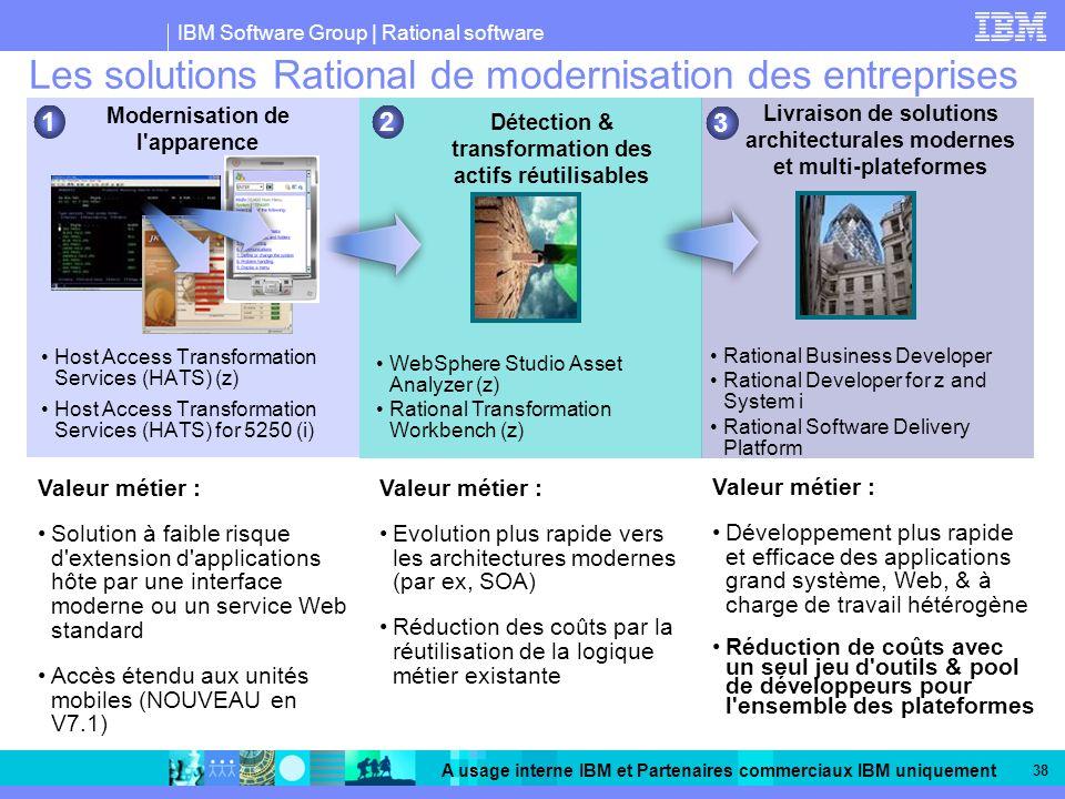 IBM Software Group | Rational software A usage interne IBM et Partenaires commerciaux IBM uniquement 38 Les solutions Rational de modernisation des en