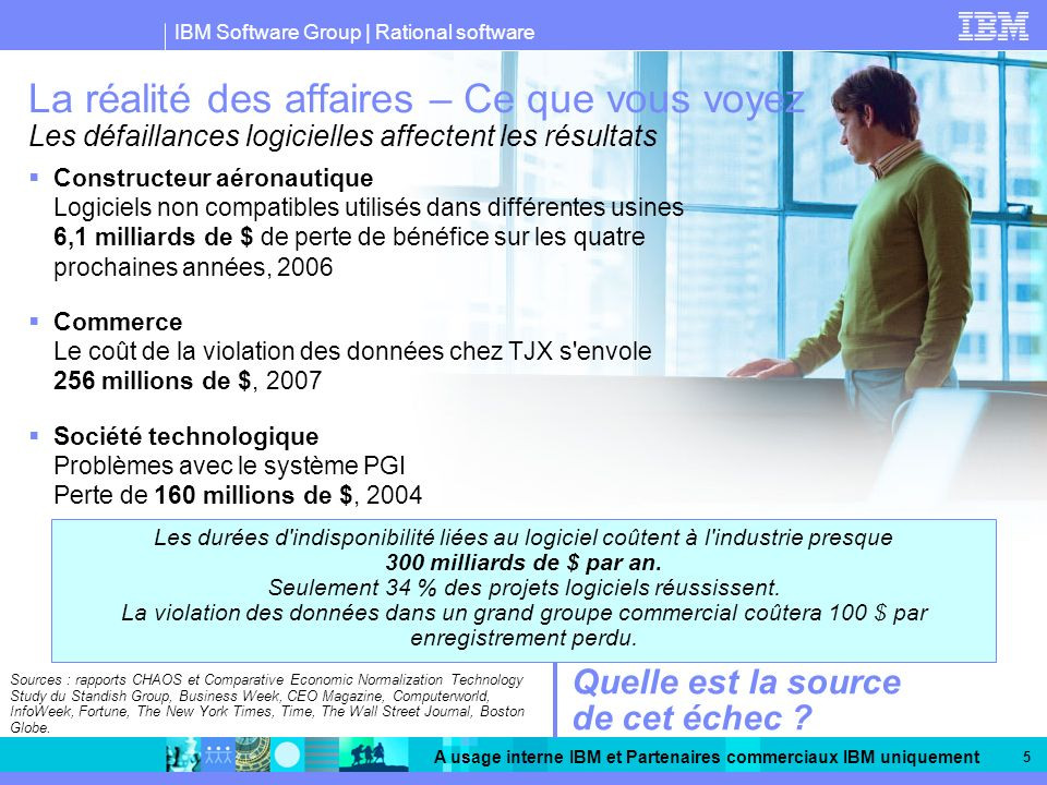 IBM Software Group | Rational software A usage interne IBM et Partenaires commerciaux IBM uniquement 5 Sources : rapports CHAOS et Comparative Economi
