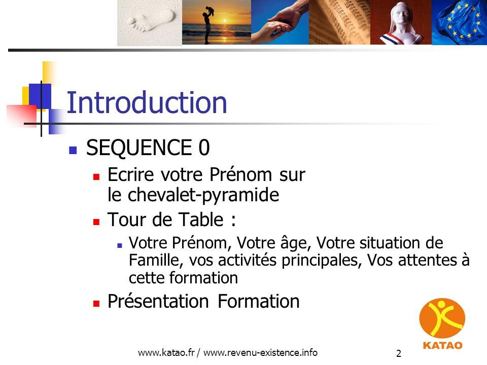 www.katao.fr / www.revenu-existence.info 2 Introduction SEQUENCE 0 Ecrire votre Prénom sur le chevalet-pyramide Tour de Table : Votre Prénom, Votre âg