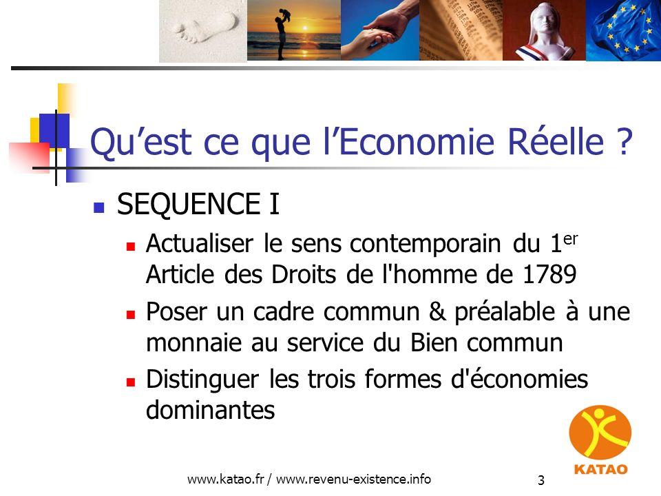 www.katao.fr / www.revenu-existence.info 3 Quest ce que lEconomie Réelle ? SEQUENCE I Actualiser le sens contemporain du 1 er Article des Droits de l'