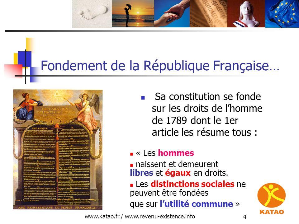 www.katao.fr / www.revenu-existence.info 4 Fondement de la République Française… Sa constitution se fonde sur les droits de lhomme de 1789 dont le 1er