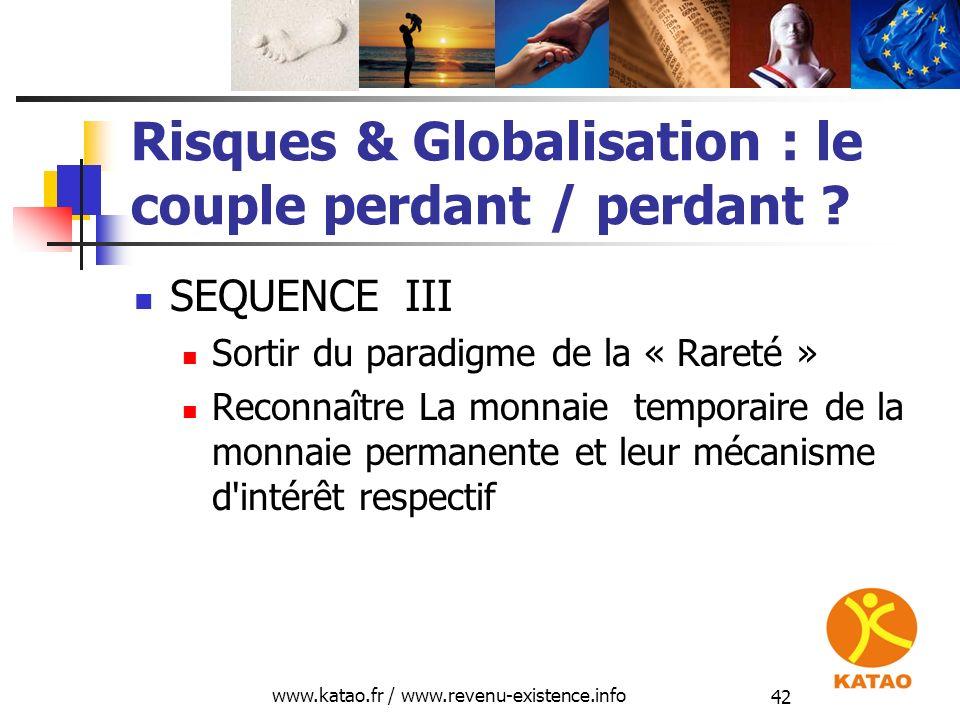 www.katao.fr / www.revenu-existence.info 42 Risques & Globalisation : le couple perdant / perdant ? SEQUENCE III Sortir du paradigme de la « Rareté »