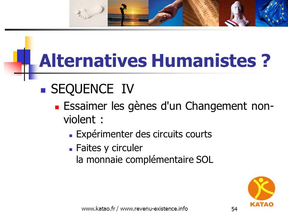 www.katao.fr / www.revenu-existence.info 54 Alternatives Humanistes ? SEQUENCE IV Essaimer les gènes d'un Changement non- violent : Expérimenter des c