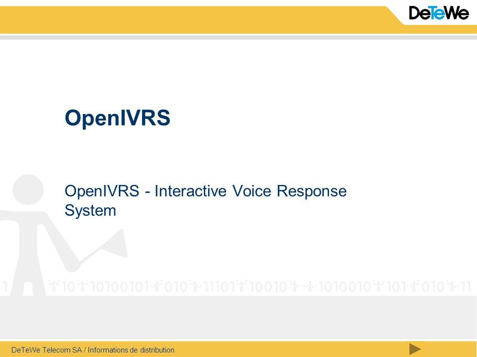 sommaire OpenIVRS DeTeWe Telecom SA / Informations de distribution / page 12 OpenIVRS - Voice-mail Le répondeur encore plus malin vous offre la possibilité de sélectionner directement le numéro de l appelant qui vous est notifié (très pratique en voiture avec le Natel).