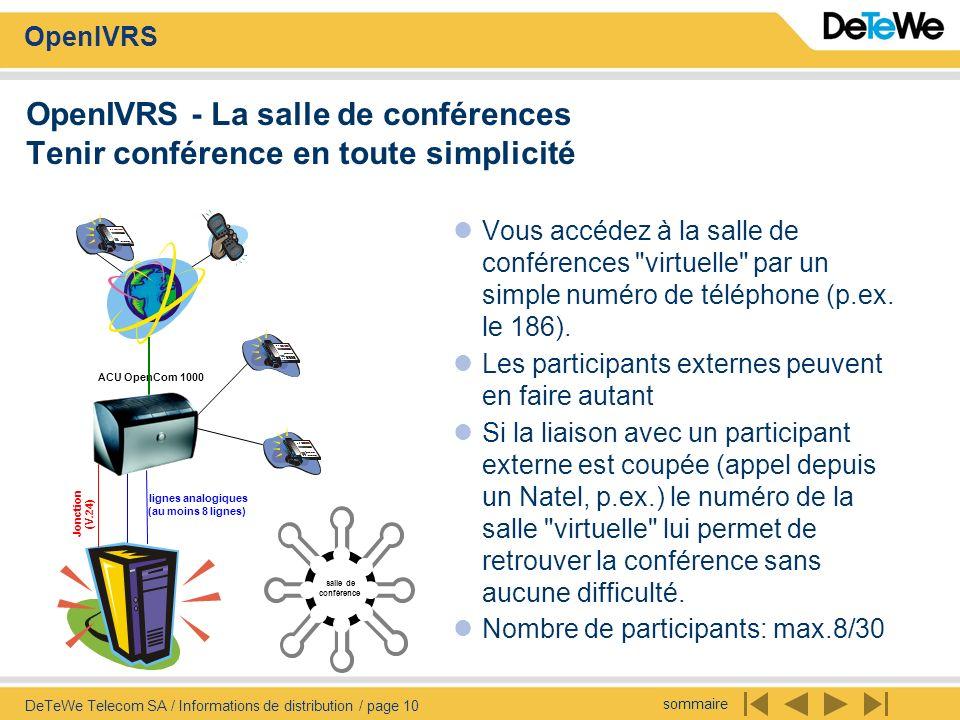 sommaire OpenIVRS DeTeWe Telecom SA / Informations de distribution / page 10 OpenIVRS - La salle de conférences Tenir conférence en toute simplicité Vous accédez à la salle de conférences virtuelle par un simple numéro de téléphone (p.ex.