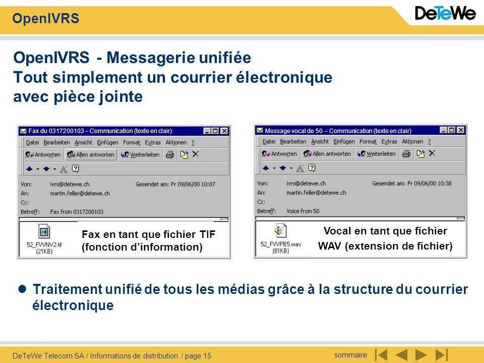 sommaire OpenIVRS DeTeWe Telecom SA / Informations de distribution / page 15 OpenIVRS - Messagerie unifiée Tout simplement un courrier électronique av