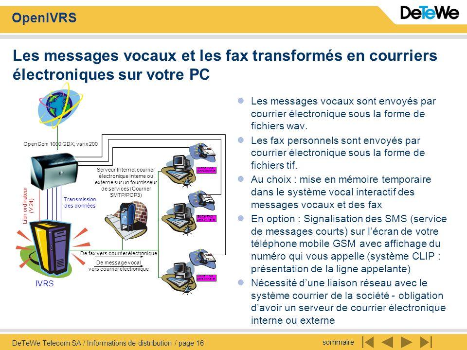 sommaire OpenIVRS DeTeWe Telecom SA / Informations de distribution / page 16 Les messages vocaux et les fax transformés en courriers électroniques sur votre PC Les messages vocaux sont envoyés par courrier électronique sous la forme de fichiers wav.