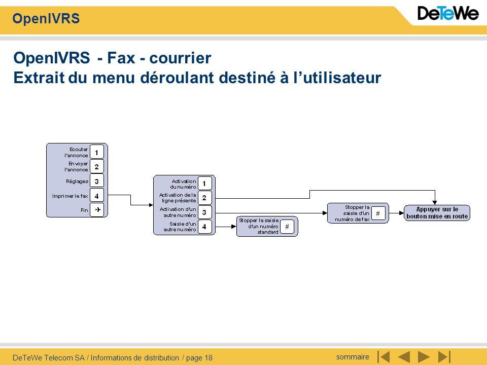 sommaire OpenIVRS DeTeWe Telecom SA / Informations de distribution / page 18 OpenIVRS - Fax - courrier Extrait du menu déroulant destiné à lutilisateu