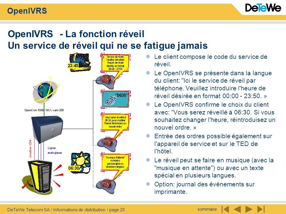 sommaire OpenIVRS DeTeWe Telecom SA / Informations de distribution / page 20 OpenIVRS - La fonction réveil Un service de réveil qui ne se fatigue jamais Le client compose le code du service de réveil.