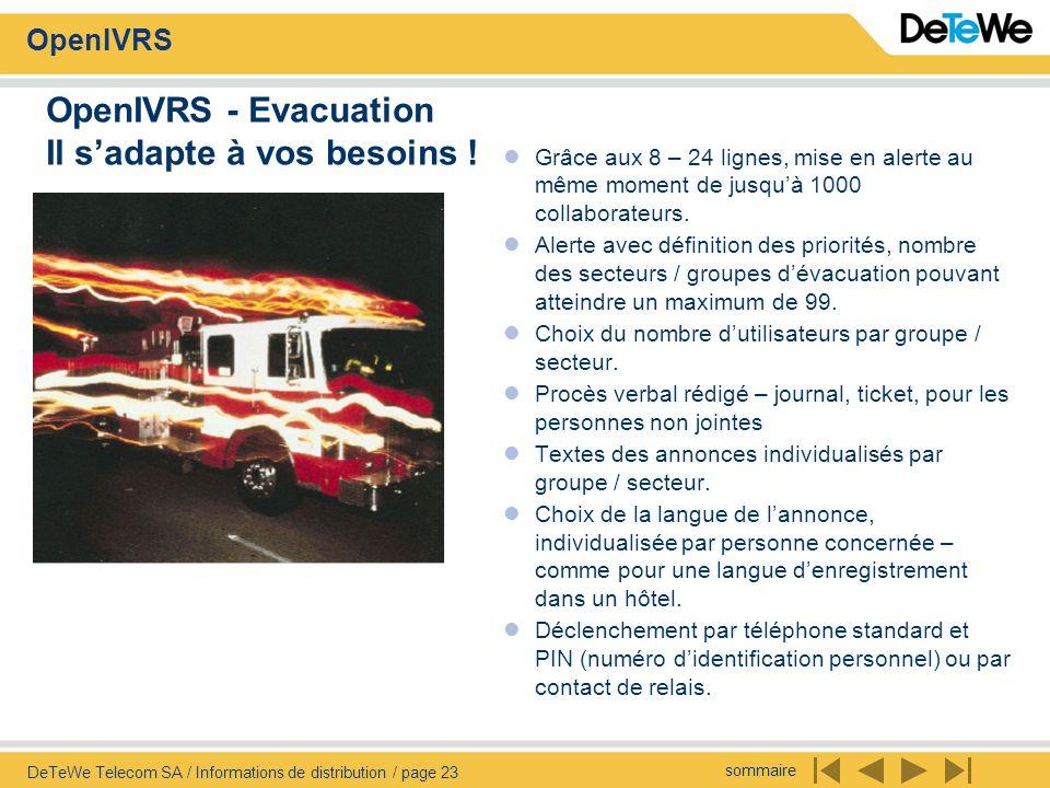 sommaire OpenIVRS DeTeWe Telecom SA / Informations de distribution / page 23 OpenIVRS - Evacuation Il sadapte à vos besoins ! Grâce aux 8 – 24 lignes,