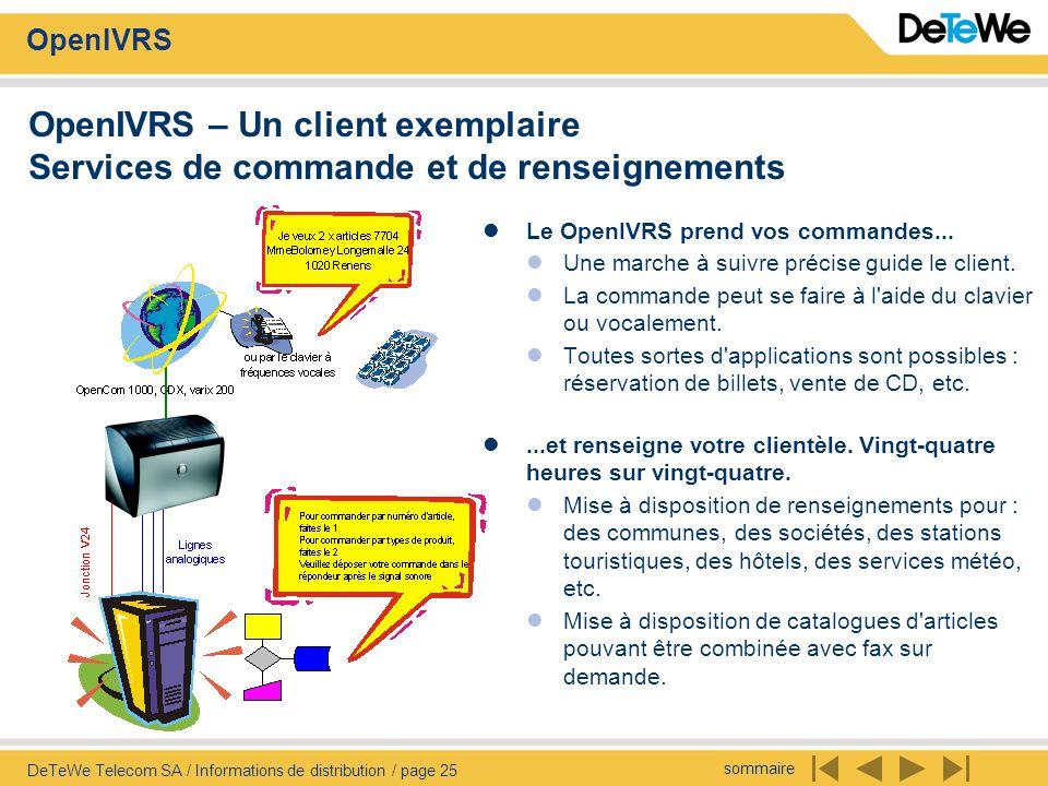 sommaire OpenIVRS DeTeWe Telecom SA / Informations de distribution / page 25 OpenIVRS – Un client exemplaire Services de commande et de renseignements
