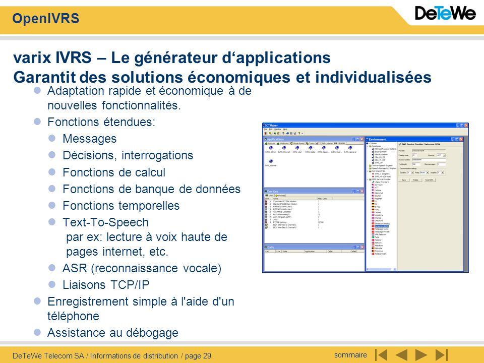 sommaire OpenIVRS DeTeWe Telecom SA / Informations de distribution / page 29 varix IVRS – Le générateur dapplications Garantit des solutions économiqu