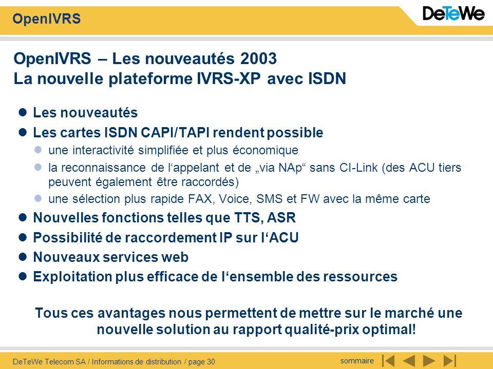 sommaire OpenIVRS DeTeWe Telecom SA / Informations de distribution / page 30 OpenIVRS – Les nouveautés 2003 La nouvelle plateforme IVRS-XP avec ISDN L