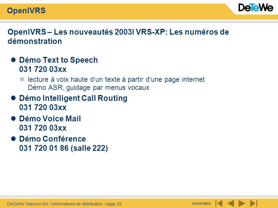 sommaire OpenIVRS DeTeWe Telecom SA / Informations de distribution / page 33 OpenIVRS – Les nouveautés 2003I VRS-XP: Les numéros de démonstration Démo