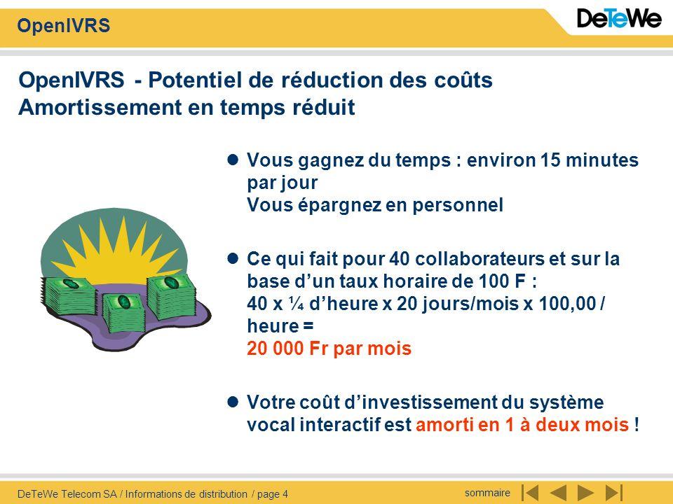 sommaire OpenIVRS DeTeWe Telecom SA / Informations de distribution / page 4 OpenIVRS - Potentiel de réduction des coûts Amortissement en temps réduit