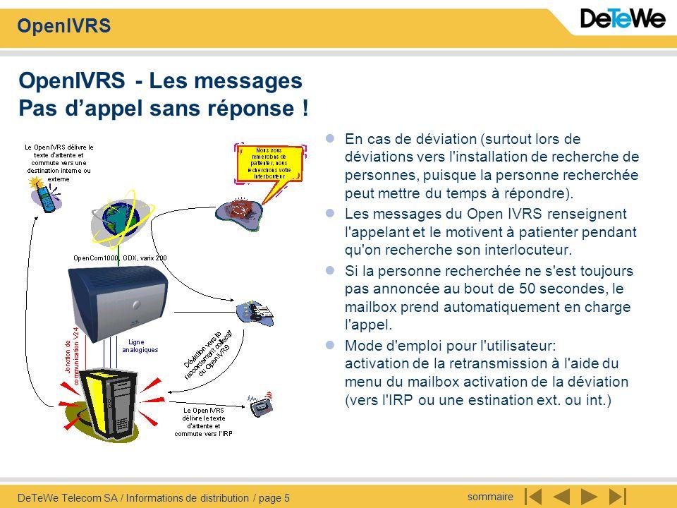 sommaire OpenIVRS DeTeWe Telecom SA / Informations de distribution / page 5 OpenIVRS - Les messages Pas dappel sans réponse ! En cas de déviation (sur