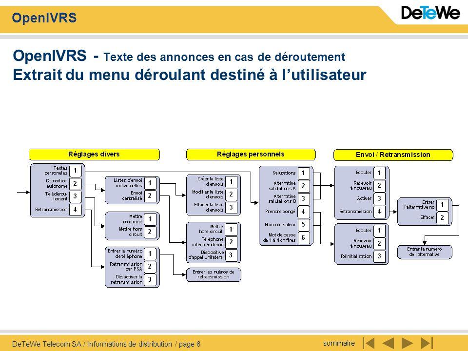sommaire OpenIVRS DeTeWe Telecom SA / Informations de distribution / page 6 OpenIVRS - Texte des annonces en cas de déroutement Extrait du menu déroul