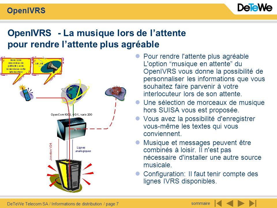 sommaire OpenIVRS DeTeWe Telecom SA / Informations de distribution / page 18 OpenIVRS - Fax - courrier Extrait du menu déroulant destiné à lutilisateur