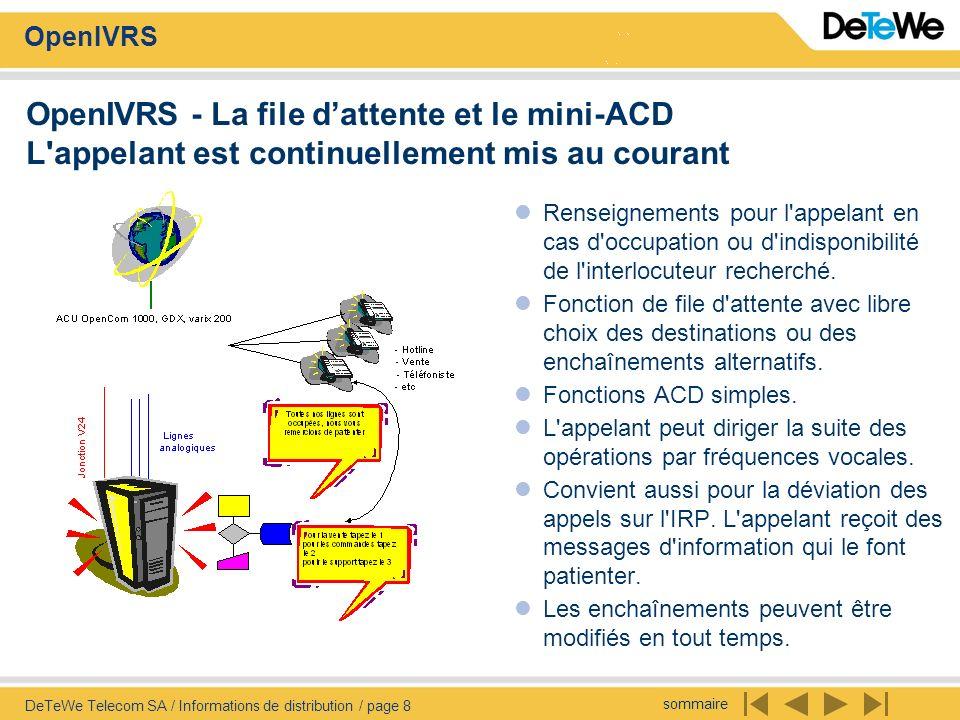 sommaire OpenIVRS DeTeWe Telecom SA / Informations de distribution / page 8 OpenIVRS - La file dattente et le mini-ACD L'appelant est continuellement
