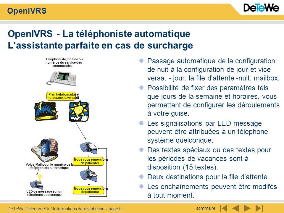 sommaire OpenIVRS DeTeWe Telecom SA / Informations de distribution / page 9 OpenIVRS - La téléphoniste automatique L'assistante parfaite en cas de sur