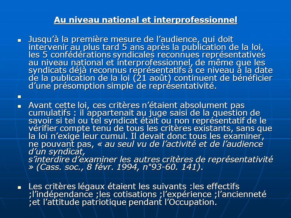 Au niveau national et interprofessionnel Jusquà la première mesure de laudience, qui doit intervenir au plus tard 5 ans après la publication de la loi
