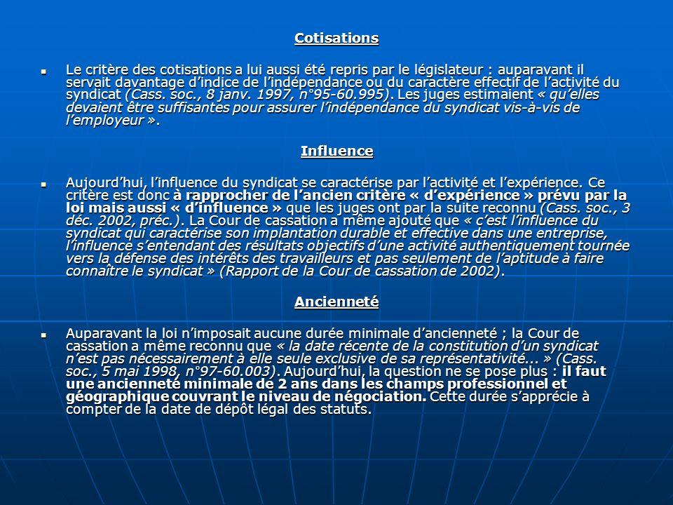 Cotisations Le critère des cotisations a lui aussi été repris par le législateur : auparavant il servait davantage dindice de lindépendance ou du cara
