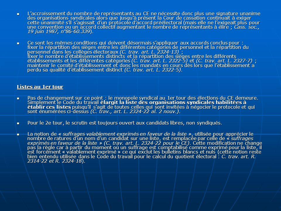 Laccroissement du nombre de représentants au CE ne nécessite donc plus une signature unanime des organisations syndicales alors que jusquà présent la