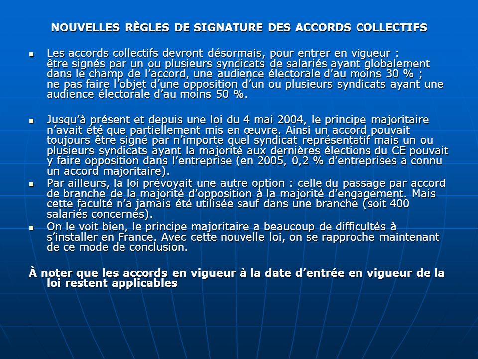 NOUVELLES RÈGLES DE SIGNATURE DES ACCORDS COLLECTIFS Les accords collectifs devront désormais, pour entrer en vigueur : être signés par un ou plusieur
