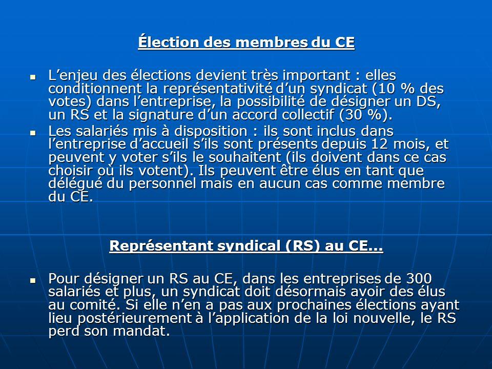 Élection des membres du CE Lenjeu des élections devient très important : elles conditionnent la représentativité dun syndicat (10 % des votes) dans le
