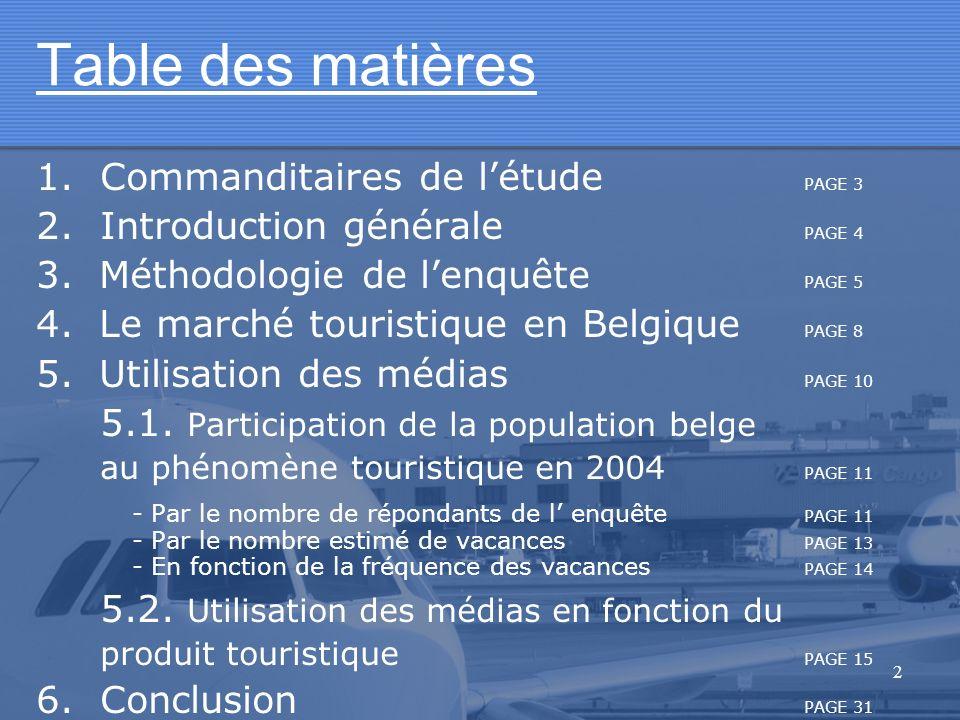 2 Table des matières 1.Commanditaires de létude PAGE 3 2.Introduction générale PAGE 4 3. Méthodologie de lenquête PAGE 5 4. Le marché touristique en B
