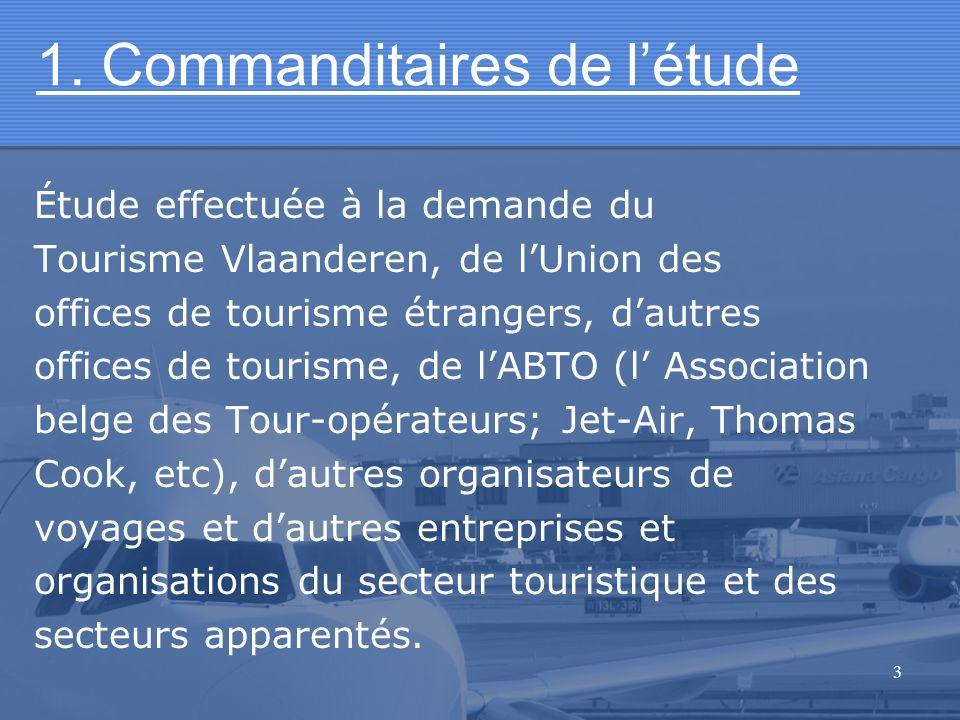 3 1. Commanditaires de létude Étude effectuée à la demande du Tourisme Vlaanderen, de lUnion des offices de tourisme étrangers, dautres offices de tou