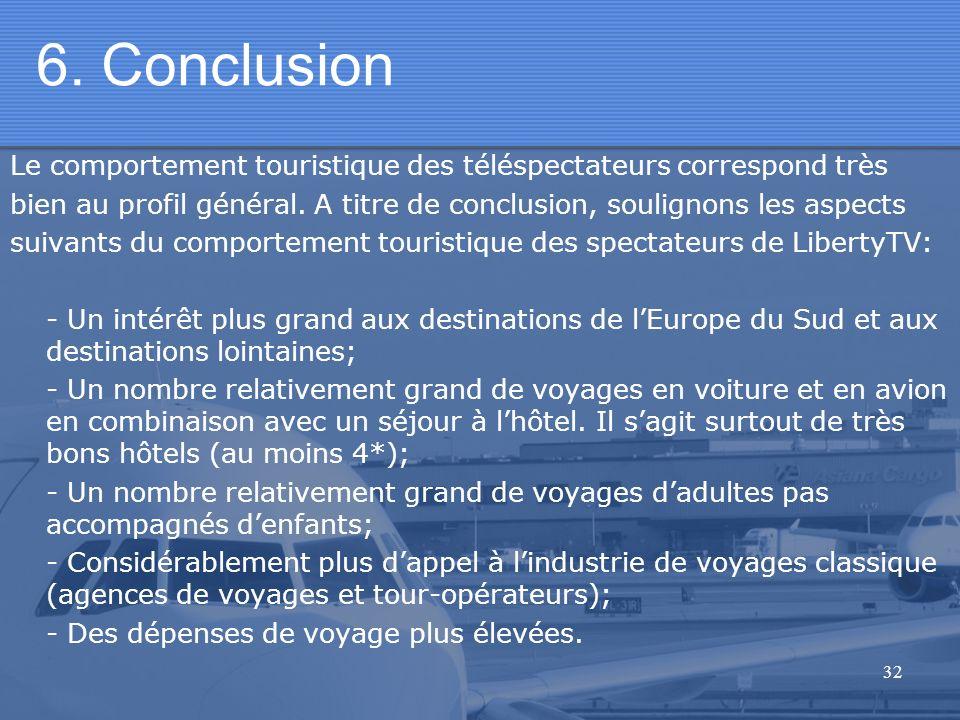 32 6. Conclusion Le comportement touristique des téléspectateurs correspond très bien au profil général. A titre de conclusion, soulignons les aspects