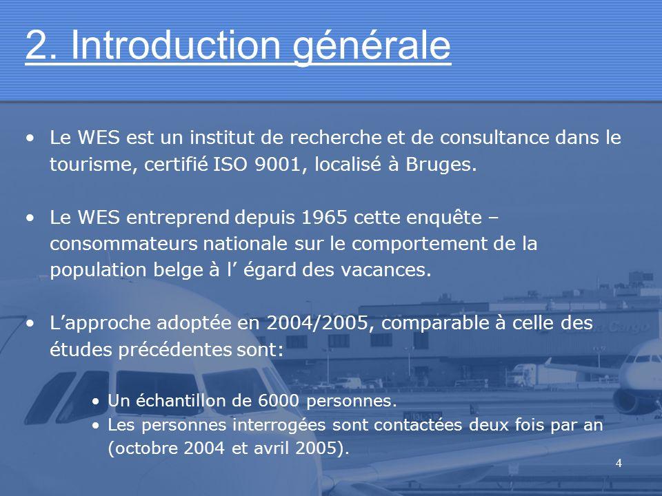 4 2. Introduction générale Le WES est un institut de recherche et de consultance dans le tourisme, certifié ISO 9001, localisé à Bruges. Le WES entrep