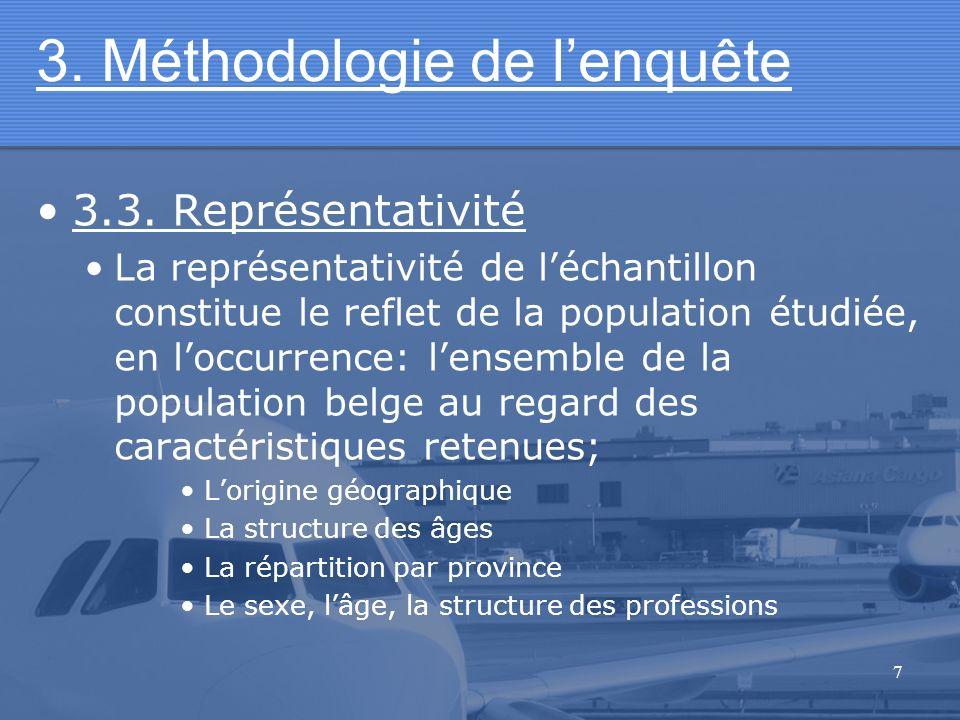 7 3. Méthodologie de lenquête 3.3. Représentativité La représentativité de léchantillon constitue le reflet de la population étudiée, en loccurrence: