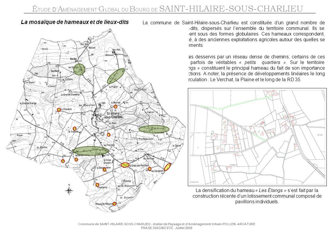 É TUDE D A MÉNAGEMENT G LOBAL DU B OURG DE SAINT-HILAIRE-SOUS-CHARLIEU Commune de SAINT-HILAIRE-SOUS-CHARLIEU - Atelier de Paysage et dAménagement Urbain POLLEN -ARCATURE PHASE DIAGNOSTIC Juillet 2009 La mosaïque de hameaux et de lieux-dits La commune de Saint-Hilaire-sous-Charlieu est constituée dun grand nombre de hameaux et de lieux-dits, dispersés sur lensemble du territoire communal.