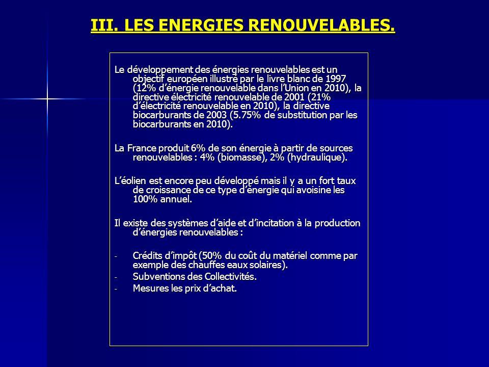 III. LES ENERGIES RENOUVELABLES. Le développement des énergies renouvelables est un objectif européen illustré par le livre blanc de 1997 (12% dénergi