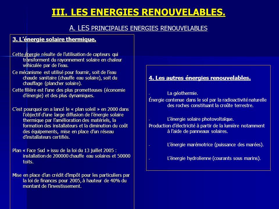III. LES ENERGIES RENOUVELABLES. 3. Lénergie solaire thermique. Cette énergie résulte de lutilisation de capteurs qui transforment du rayonnement sola