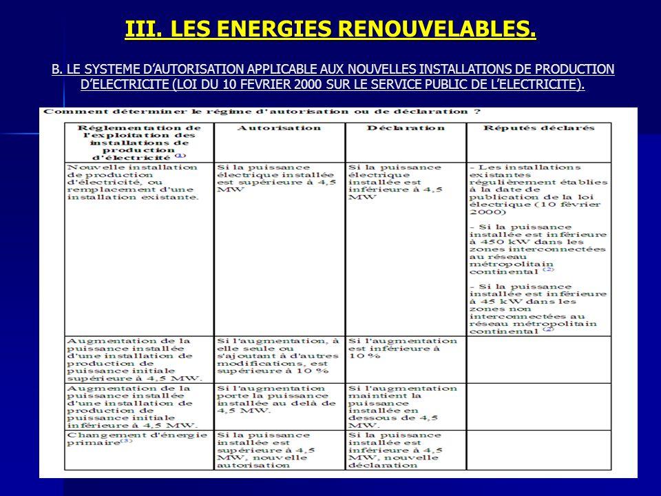 III. LES ENERGIES RENOUVELABLES. B. LE SYSTEME DAUTORISATION APPLICABLE AUX NOUVELLES INSTALLATIONS DE PRODUCTION DELECTRICITE (LOI DU 10 FEVRIER 2000