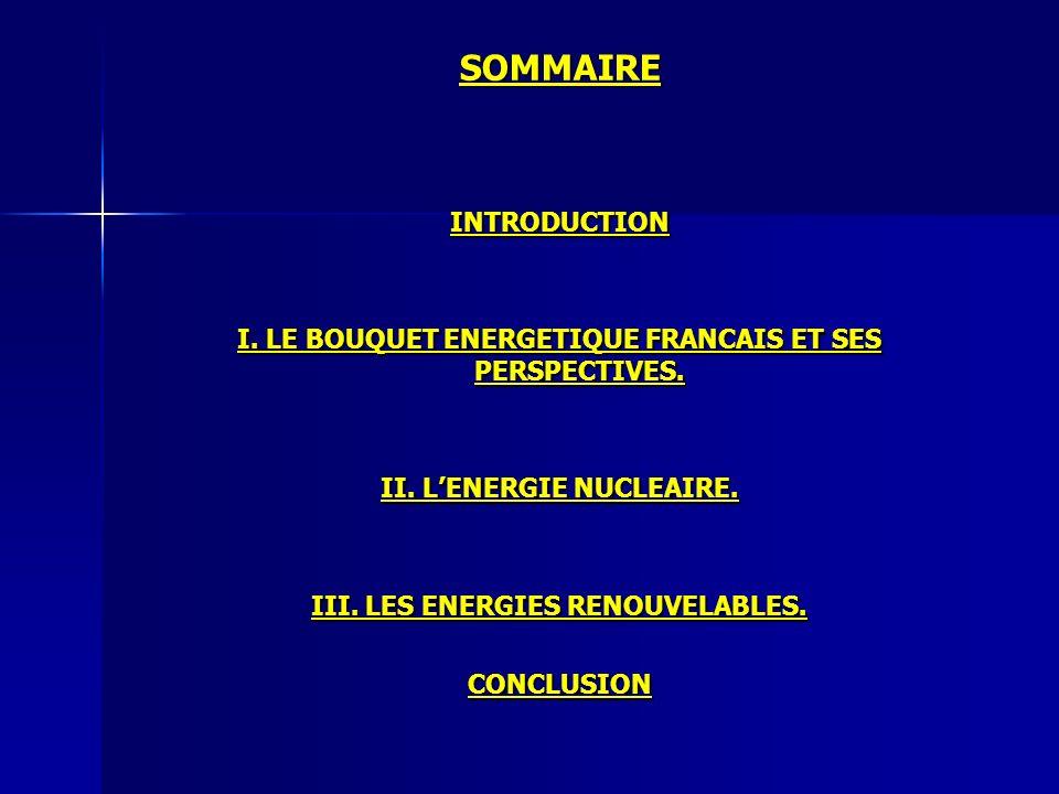 SOMMAIRE INTRODUCTION I. LE BOUQUET ENERGETIQUE FRANCAIS ET SES PERSPECTIVES. II. LENERGIE NUCLEAIRE. III. LES ENERGIES RENOUVELABLES. CONCLUSION