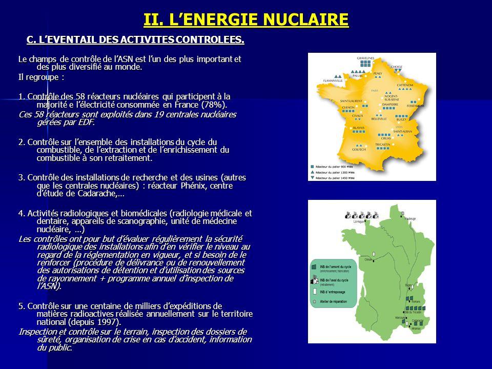 II. LENERGIE NUCLAIRE C. LEVENTAIL DES ACTIVITES CONTROLEES. Le champs de contrôle de lASN est lun des plus important et des plus diversifié au monde.