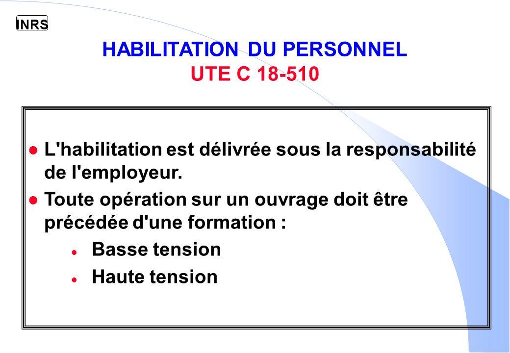INRS HABILITATION DU PERSONNEL UTE C 18-510 l L habilitation est délivrée sous la responsabilité de l employeur.