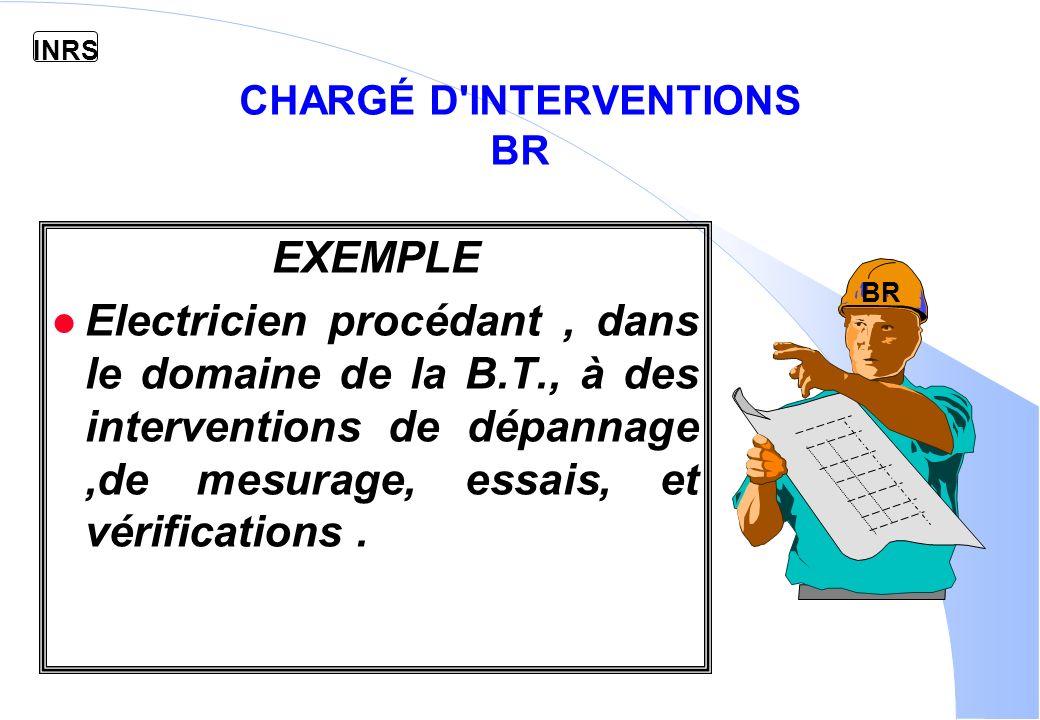 INRS CHARGÉ D INTERVENTIONS BR EXEMPLE l Electricien procédant, dans le domaine de la B.T., à des interventions de dépannage,de mesurage, essais, et vérifications.